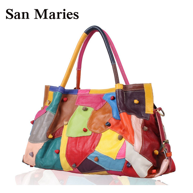 e0e6b14bc87 Wholesale Genuine Leather Women Handbags National Stylish Colorful  Patchwork Cowhide Bag Large Tote