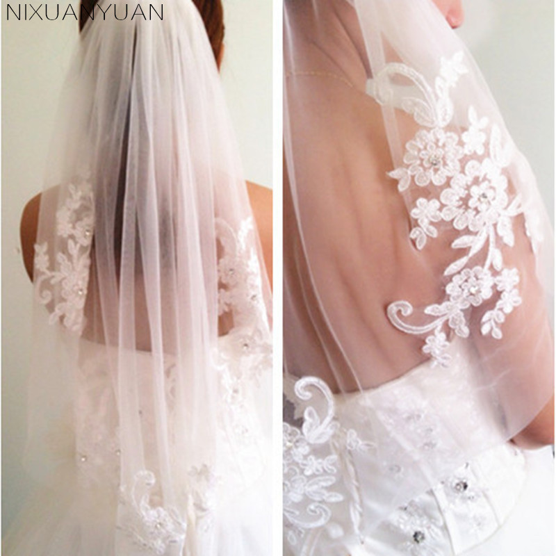 Short One Layer Wedding Veil With Comb White Ivory Lace Applique Crystal Bridal Veils Wedding Accessories Veu De Noiva 2019