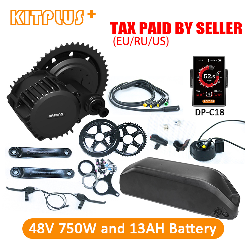 Sale Bafang BBS02B Mid Drive Motor Kit 48V 8Fun Bafang 750W with 13AH Down Tube Battery Ebike Kit Electric Bicycle Kit with Battery 0