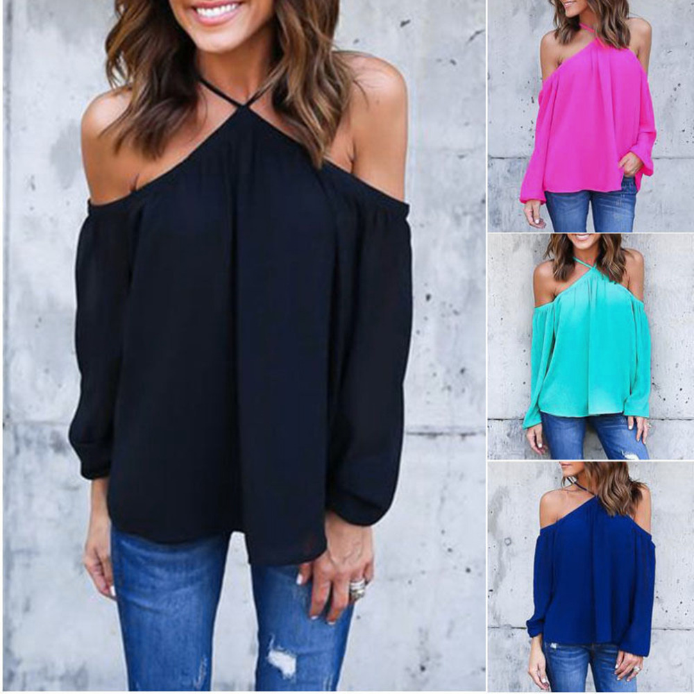 New New Womens Chiffon Off Shoulder Tops Sleeved Blouses & Shirts Casual Haletneck Blouse Hot