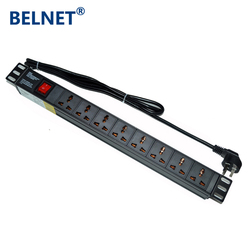 19in 10A 1U 8 unidades toma Universal doble rotura PDU interruptor de red gabinete Rack Power Strip Salida de distribución para enchufe de EE. UU.