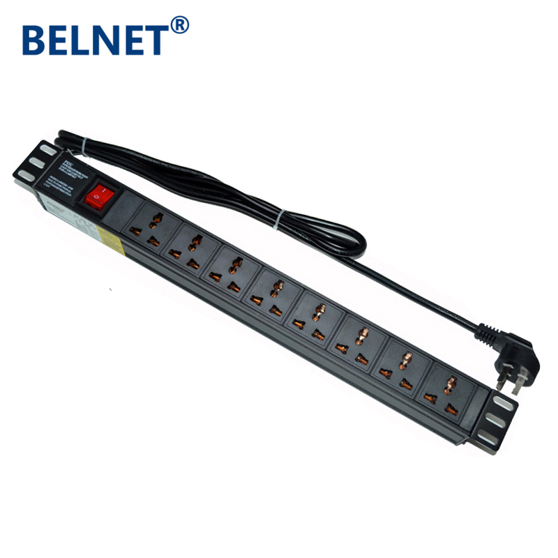19in 10A 1U 8units Universal Socket Double Break Switch PDU Network Cabinet Rack Power Strip Distribution Outlet For EU US Plug image