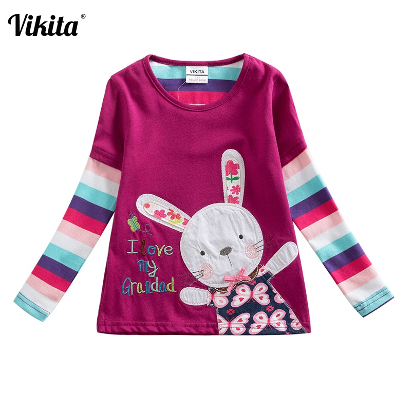 VIKITA Brand Baby Girls Tops Children T shirts Long Sleeve 2018 Autumn Striped Kids Tees shirt Cartoon Rabbit t-Shirt for girls lace panel long raglan sleeve striped t shirt