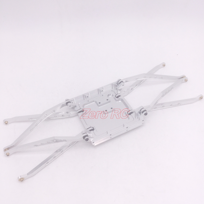 1 10 SCALE AXIAL WRAITH FULL ALUMINUM SKID PLATE WITH 8 SUSPENSION LINK ARM SILVER