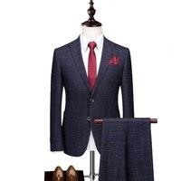 2019 New Blue Men's Plaid Suit 2 Pieces Tuxedos Blazer Formal Groomsmen Suits For wedding (Blazer+Pants)