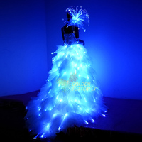 LED Evening Dress Dance Glowing Ballroom Dresses China Luminous Skirt Fiber Clothe Glowing Dress Fantasy princess dress