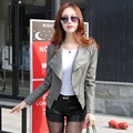 2016 new women's leather jackets short paragraph Korean  coat Slim large lapel jacket