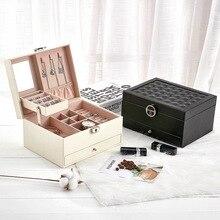 Boîte à bijoux coréenne en cuir boîte de rangement à bijoux multifonctions, grande capacité, clous doreille anneaux organisateur de bijoux