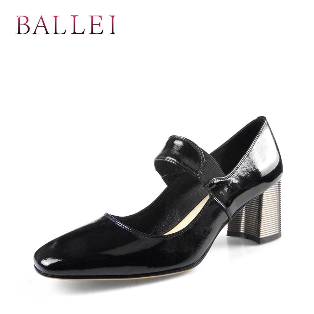 BALLEI élégante femme rétro pompes haute qualité en cuir verni ronde Te doux haut carré talons chaussures classique dame mode pompe D12-in Escarpins femme from Chaussures    1