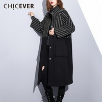 CHICEVER Patchwork Striped Women's Winter Jacket Stand Collar Long Sleeve Single Breasted Coat Female Jackets Fashion Streetwear