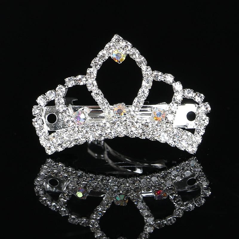 New 6pcs lot 43mm or 34mm clear AB rhinestone tiara crown pets OR girls ladys hair ornament barrette accessories