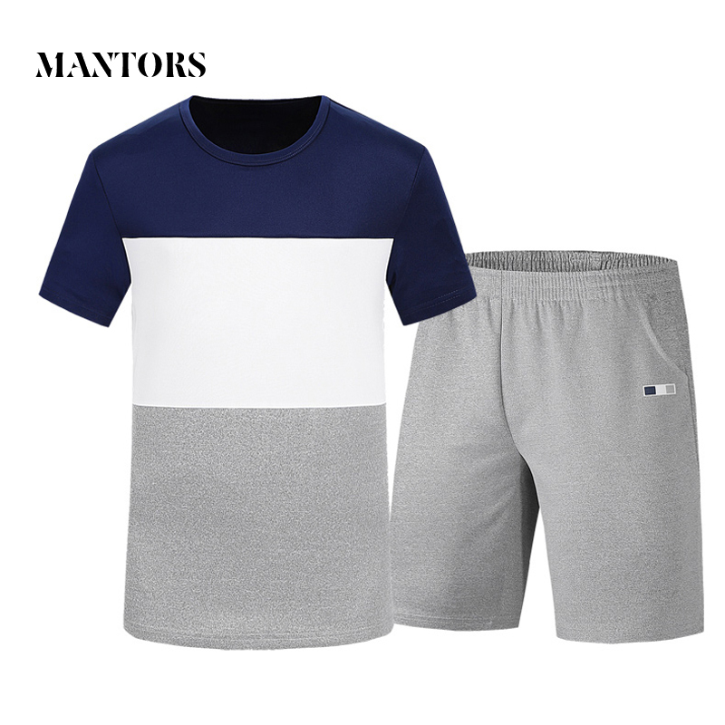 Mens Suits Summer Short Sleeve Fitness Sporting Suits 2018 New T Shirts+Shorts Elastic W ...