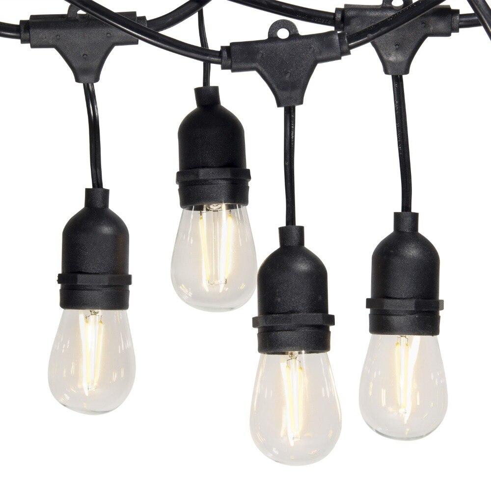 Étanche 15 M 24 LED Ampoules à Cordes Lumières E26 E27 S14 2 W LED Rétro Edison Filament En Plein Air Rue Jardin vacances Chaîne D'éclairage