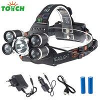 10000LM Cree T6 + 4 * R5 Led Farol Tático Chapéu de Carga USB Luz mais Poderoso 5 Lâmpadas Led Head Lamp Recarregável Tocha para acampamento