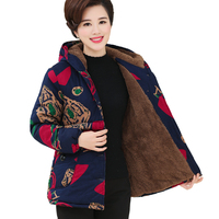 Mother loaded cotton winter coats short people large size 5XL thick coat female middle aged women printed hooded down cotton coa