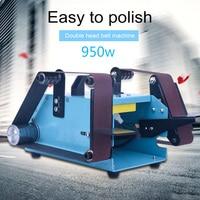950W 220V Multi function Electric Belt Sander Desktop Double head Belt Sanding Grinding Machine Polishing Tool Power