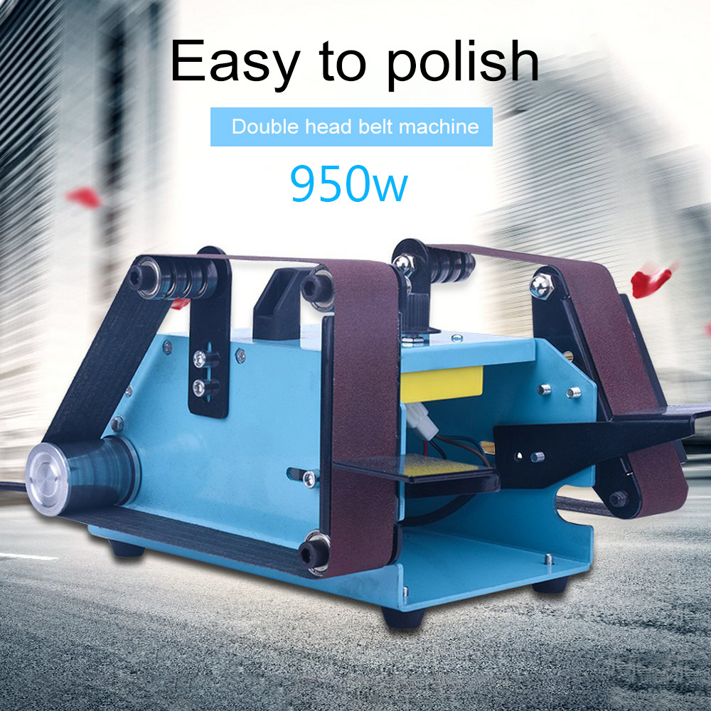 950W 220V Multi function Electric Belt Sander Desktop Double head Belt Sanding Grinding Machine Polishing Tool Power