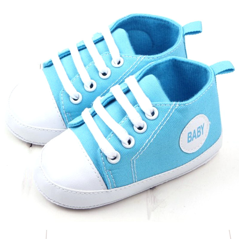 First walker New Infant Toddler Newborn Baby Shoes Unisex Kids Classic Sports Footwear Soft Bottom Anti-slip T-tied Shoe 13Color
