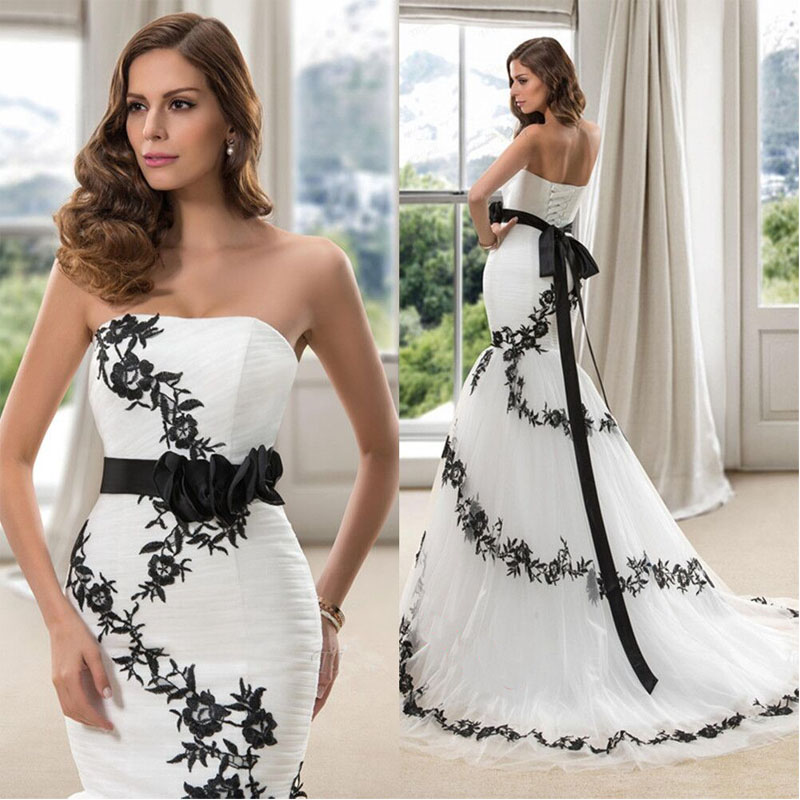 2020 New Abiti Da Sposa Mermaid White/Lvory Lace-Up Appliques Sashes Court Train Strapless Plus Size Wedding Dresses