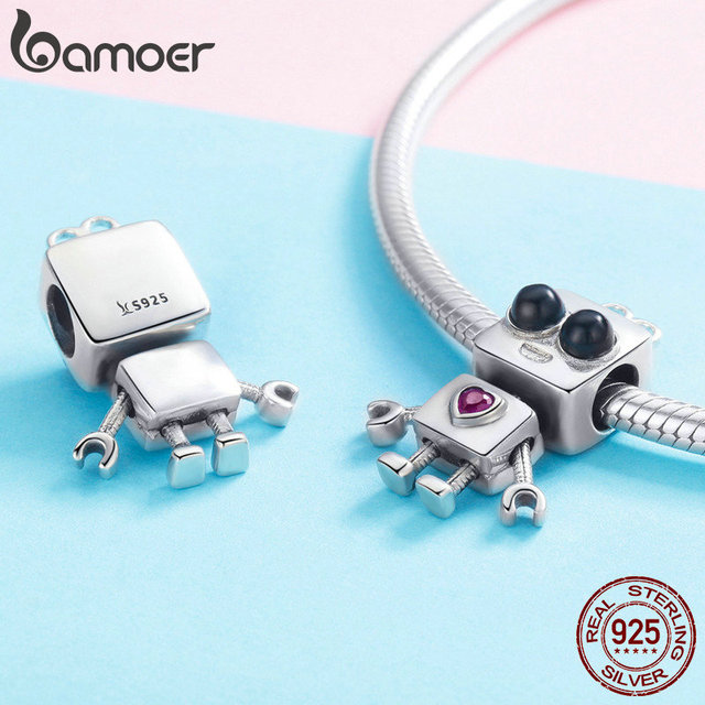 BAMOER Hot Sale 925 Sterling Silver Tick Tock Robot Girls Boys Childhood Beads Charm fit Charm Bracelet DIY Jewelry SCC886