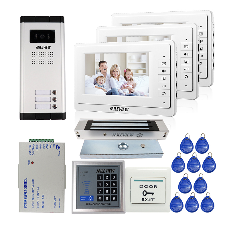 FREE SHIPPING 7 Video Intercom Apartment Door Phone 3 White Monitors Outdoor Camera For 3 Family