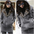 Free Shipping 2016 Winter Hot Sale Fashion Women Leopard Coat Zipper Up Hooded Sweatshirts Cardigan Jacket M-XXL 3 Color