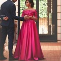 2017 Off Shoulder Appliqued Long Fuchsia Evening Dress vestido de festa longo robe de soiree Cheap Long Sleeve Prom Dresses WL48