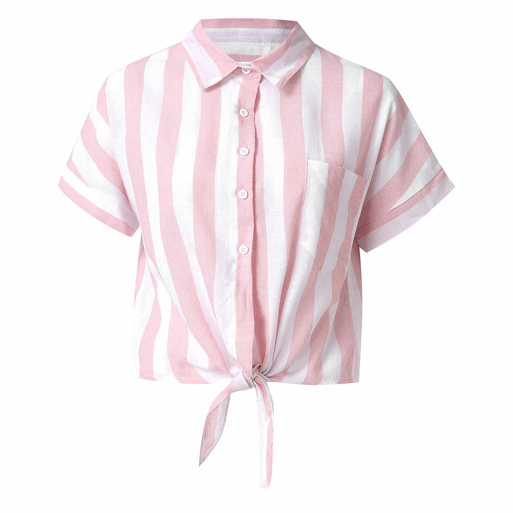 Women's Fashion Sexy Solid Color Blue Pink Turn Down Collar Striped Tie Button Top Shirt Short Sleeves Female Casual Blouse Tops