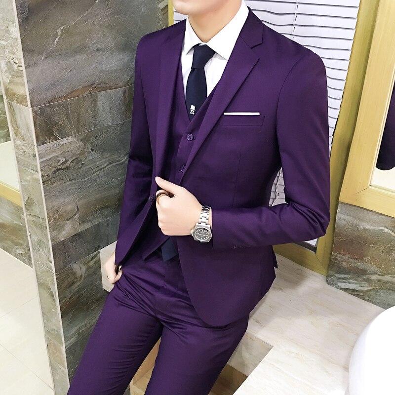 (10 Colors) Jacket + Pants + Vest / Suit Suit Men's Business Professional Tooling 3 Sets, Groom Wedding Dress Host Costumes