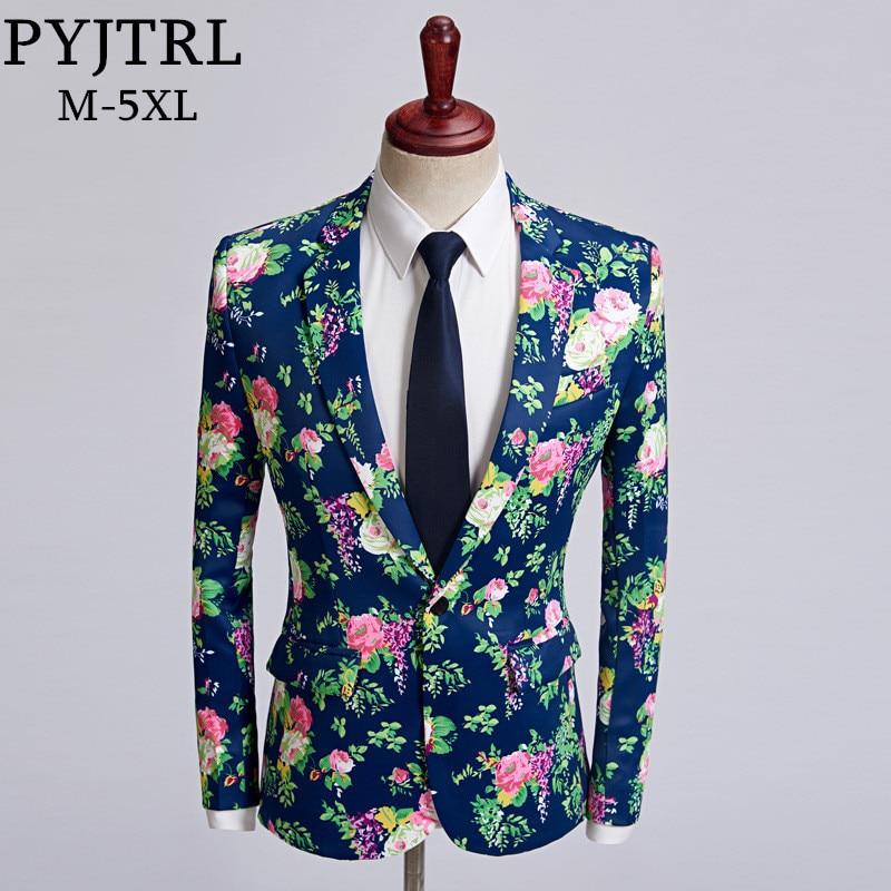 81361e688e2 PYJTRL 2018 New Tide Men Blazer Designs Dark Blue Pink Flower Pattern Slim  Fit Casual Suit Jacket Stylish Wedding Groom Costume