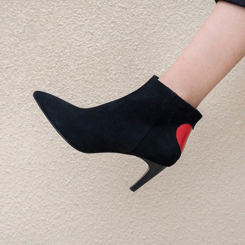 As Femme Pic Pic Talon Robe En Chaussures Rouge Cheville Cuir Parti Pointu Haute Bottes as Coeur Côté Zip Suede Chelsea Casual Défilé Bout HRqX4