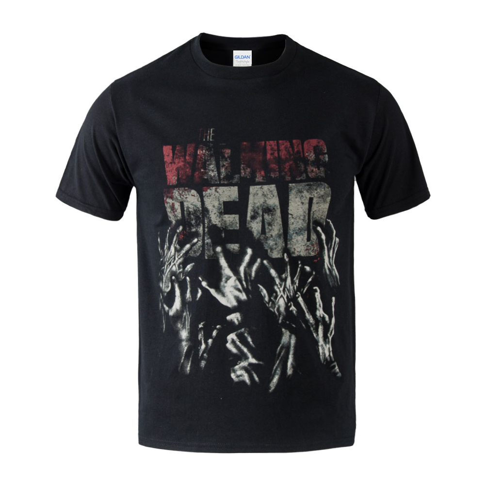 2017 Hot Sale The Walking Dead Blood Zombie T-shirt Men's 100% Cotton Casual Tshirt Tees Male  Black