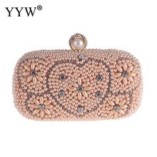 Rhinstone Pearl Evening Bag Pink Beaded Wedding Party Purse Luxury Clutch Female Lady White Evening Bag With Crystal Handbag pink apple shape evening purse diamond crystal party clutch women wedding luxury bag fruit fashion ladies purse handbag sc146 b
