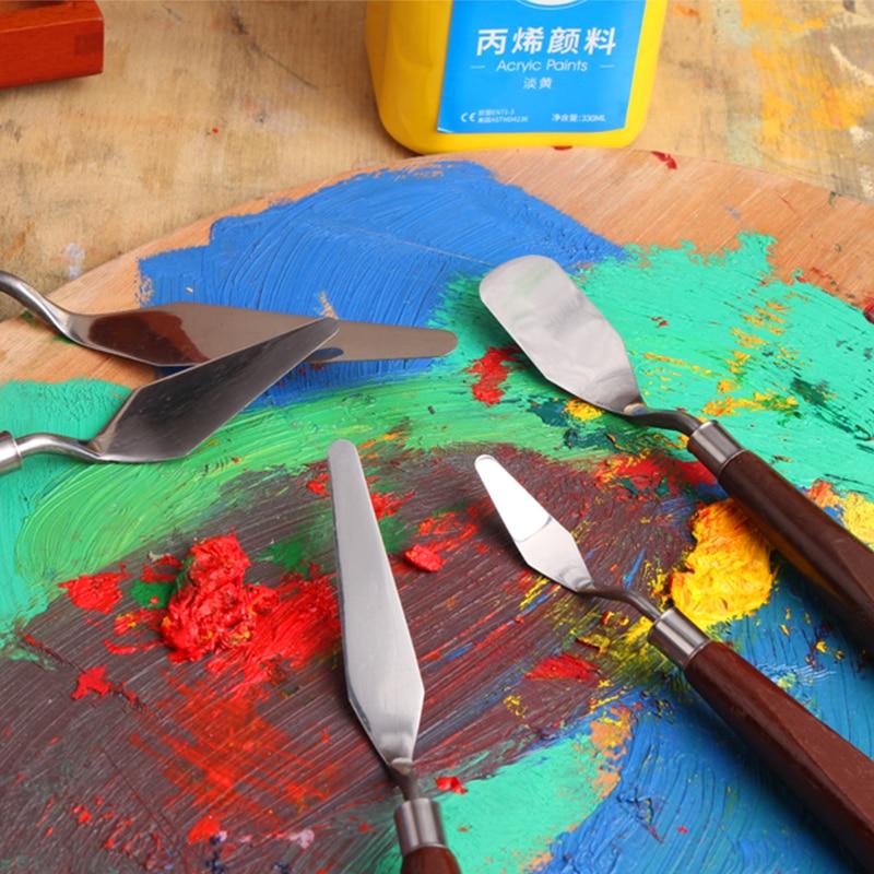 Купить с кэшбэком 5Pcs Mixed Stainless Steel Palette Scraper Set Spatula Knives For Artist Oil Painting Tools Painting Knife Blade