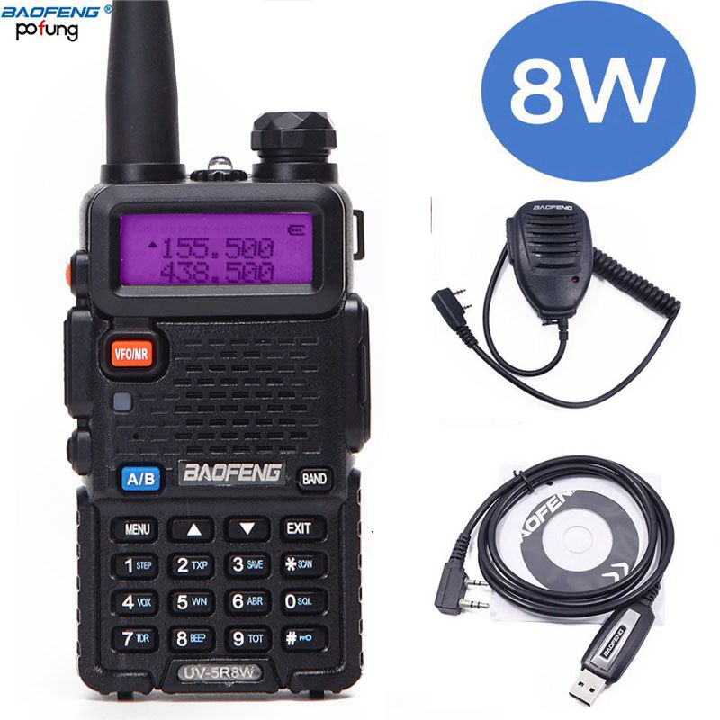 Baofeng UV-5R 8 w Haute Puissance 8 Watts puissant Talkie Walkie 1800 mah 10 km VHF/UHF Bande Deux way Radio uv5r + USB Câble + Haut-Parleur Mic
