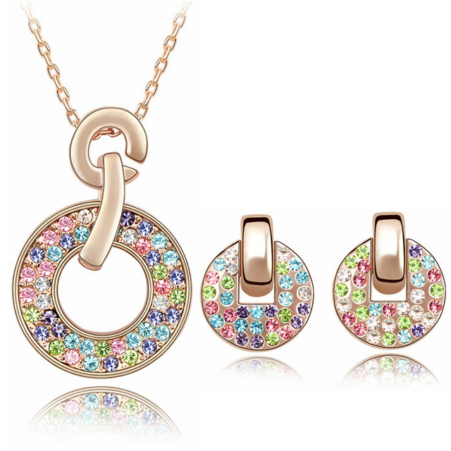 Multicolored Austria Crystal Circle Earrings Necklace Jewelry Sets Vintage Jewellery Accessories Chinese Products