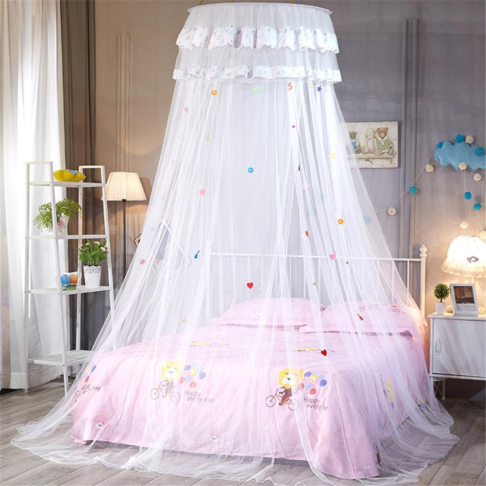 Dome Ceiling Lace Bed Canopy Princess Kid Room Mosquito Net Bed Valance Floor Length Dome Hanging Curtain Photograph Props in Mosquito Net from Home Garden