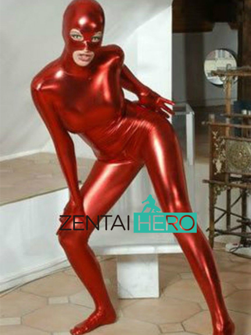 Free Shipping DHL Wholesale Shiny Metallic Red Sexy Halloween Party Zentai Costume Gift For Women Open Eyes S-XXXL