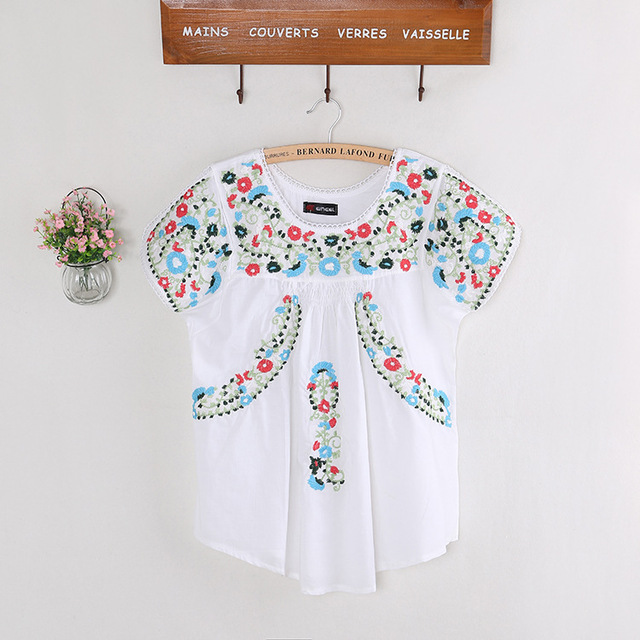32ea7c236a Vintage 70s SCALLOP Mexican Ethnic Embroidery Summer Women Dress BOHO  Hippie Blouse Mini Dresses Women Tops Vestidos Femininos
