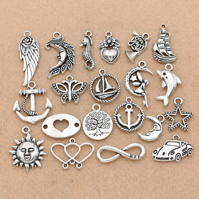 Mix Antique Silver Angel Wings Heart Sun Infinity Love Charm Pendant Jewelry Making Bracelet Accessories Findings Handmade 20PCS