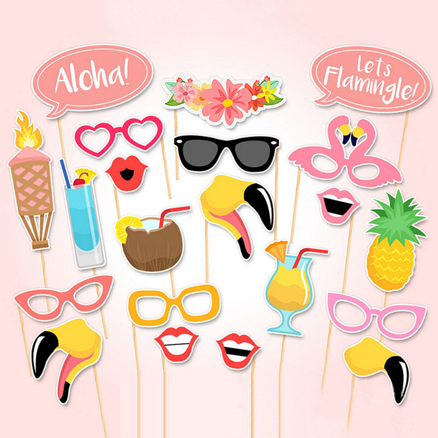 21 PCS Flamingo Tropical Summer Hen Photo Booth Props Stick Birthday Beach Party Decor Paper Crafts Events Party Supplies