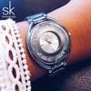 Shengke SK Brand Women Quartz Watches Rhinestone Diamond Golden Watchband Top Luxury Brand Ladies Jewelry Bracelet