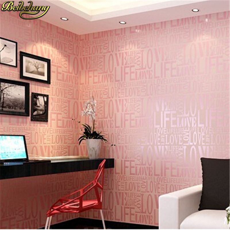 beibehang home decor Flock Words Textured Letters wallpaper for wall ...