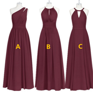 Image 1 - בורגונדי שושבינה שמלות ארוך שיפון שמלת מסיבת חתונה 2020 חלוק עלמת Dhonneur חתונת אורח שמלה