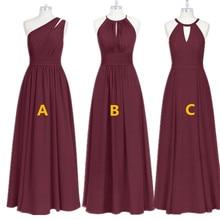 Bourgogne Phù Dâu Váy Đầm Voan Dài Cho Tiệc Cưới 2020 Áo Dây Demoiselle Dhonneur Cưới Khách Đầm