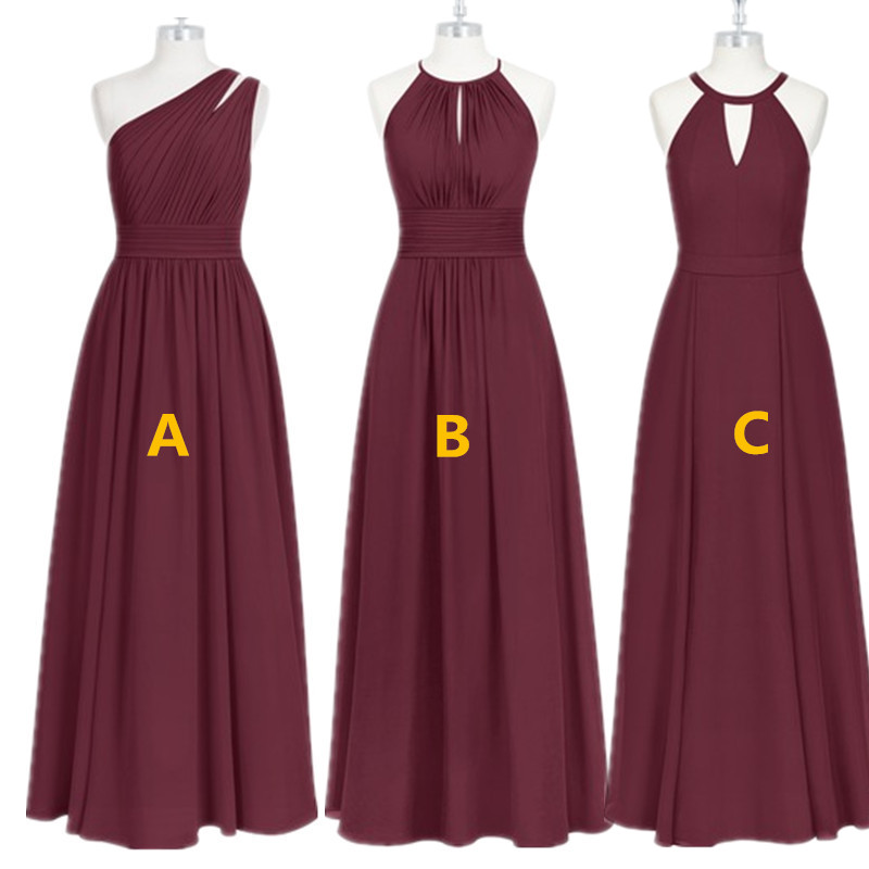 Burgundy Bridesmaid Dresses Long  Chiffon Dress For Wedding Party 2020 Robe Demoiselle D'honneur Wedding Guest Dress