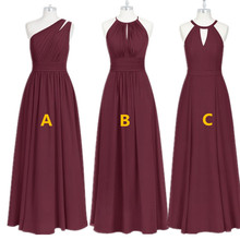 Burgundy Bridesmaid Dresses Long  Chiffon Dress for Wedding Party 2020 Robe Demoiselle Dhonneur Wedding Guest Dress