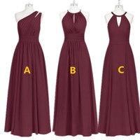 Burgundy Bridesmaid Dresses Long Chiffon Dress for Wedding Party 2019 Robe Demoiselle D'honneur Wedding Guest Dress