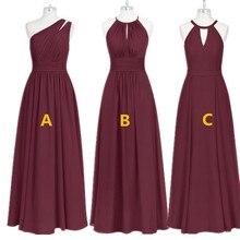 Burgundy Bridesmaid Dresses Long Chiffon Dress