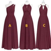 Burgundy Bridesmaid Dresses Long Chiffon Dress for Wedding Party 2019 Robe Demoiselle D'honneur Wedding Guest Dress